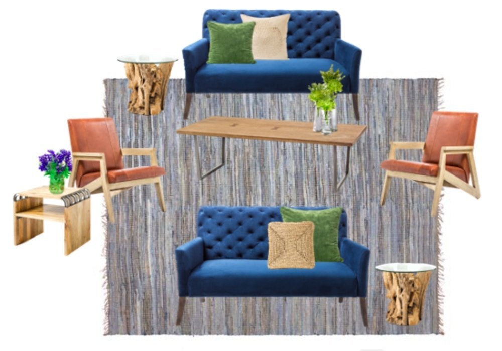 Seating 6-8 people, this setting includes two Cordelia Blue Velvet settees, two Newport Driftwood side tables, one Porter Brown wood coffee table, two Gostav rust leather armchairs, one Cornwell Mango Wood side table, and one Distressed Denim and Jute area rug.