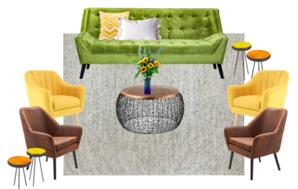 Seating six to eight people, this lounge setting includes one chartreuse Natasha velvet sofa, two Poppy side tables, one round copper Halsey coffee table, two yellow Abbey chairs, two brushed leather Delaney accent chairs, and one 8x10 area rug, white with black striations.