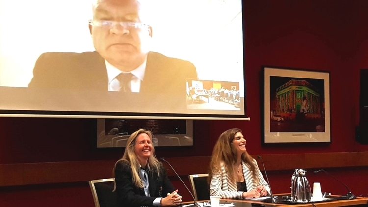 Professor Maria Fiatarone Singh, MD, (right side) with Professor Katrina Bramstedt (left side), and Ethan Gutman (on screen) at NSW Parliament. (Image: Caroline Dobson)