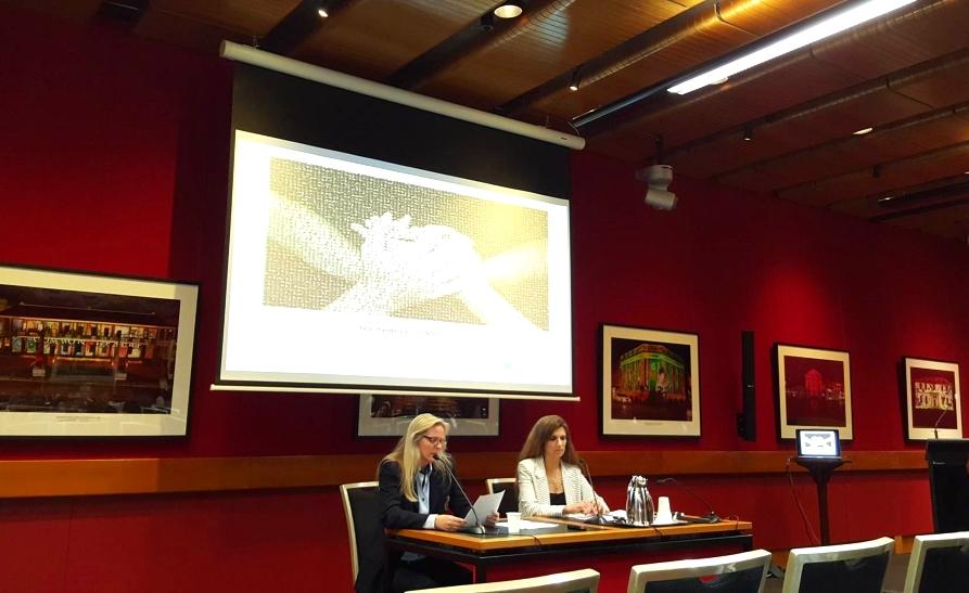 Professor Katrina Bramstedt giving a speech at the Hard To Believe screening in Sydney. (Image: Caroline Dobson)