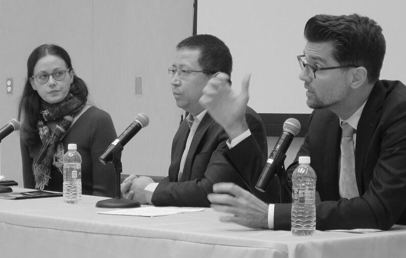 Panel Participants: Kay Rubacek, Winston Liu, and Dr. Weldon Gilcrease, speaking