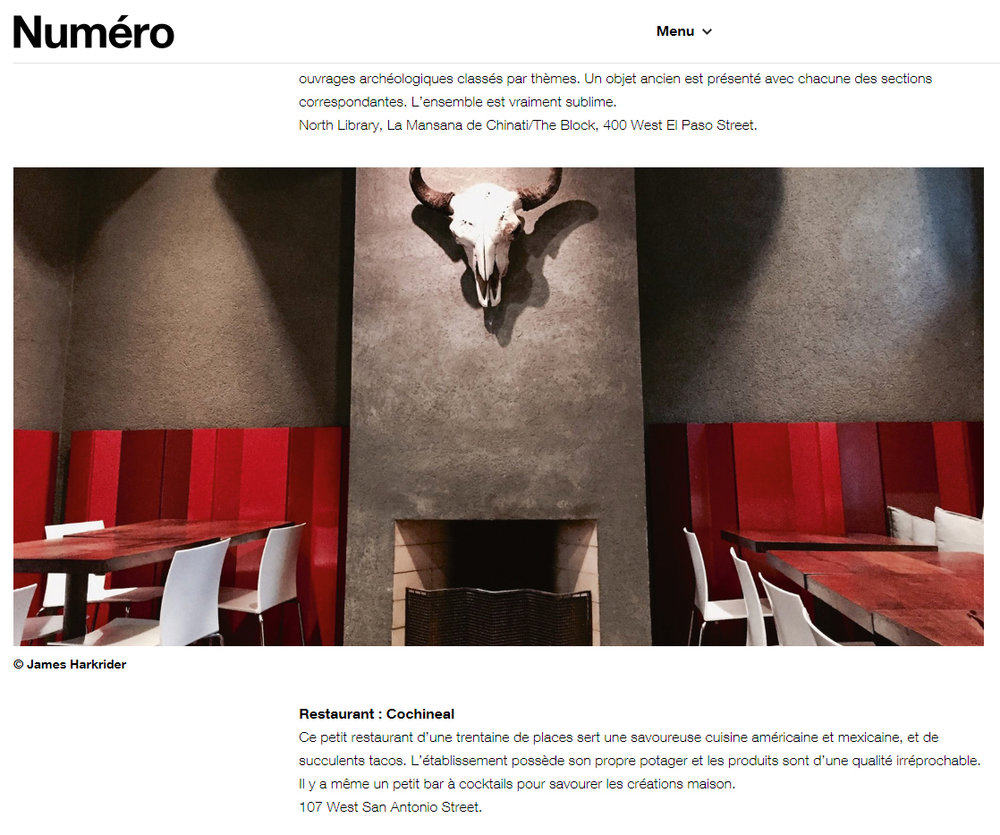 Nume'ro - Cochineal was featured in the December 2018 issue of the French travel and lifestyle magazine Numero as part of their article on Marfa.Click here to read the full article.