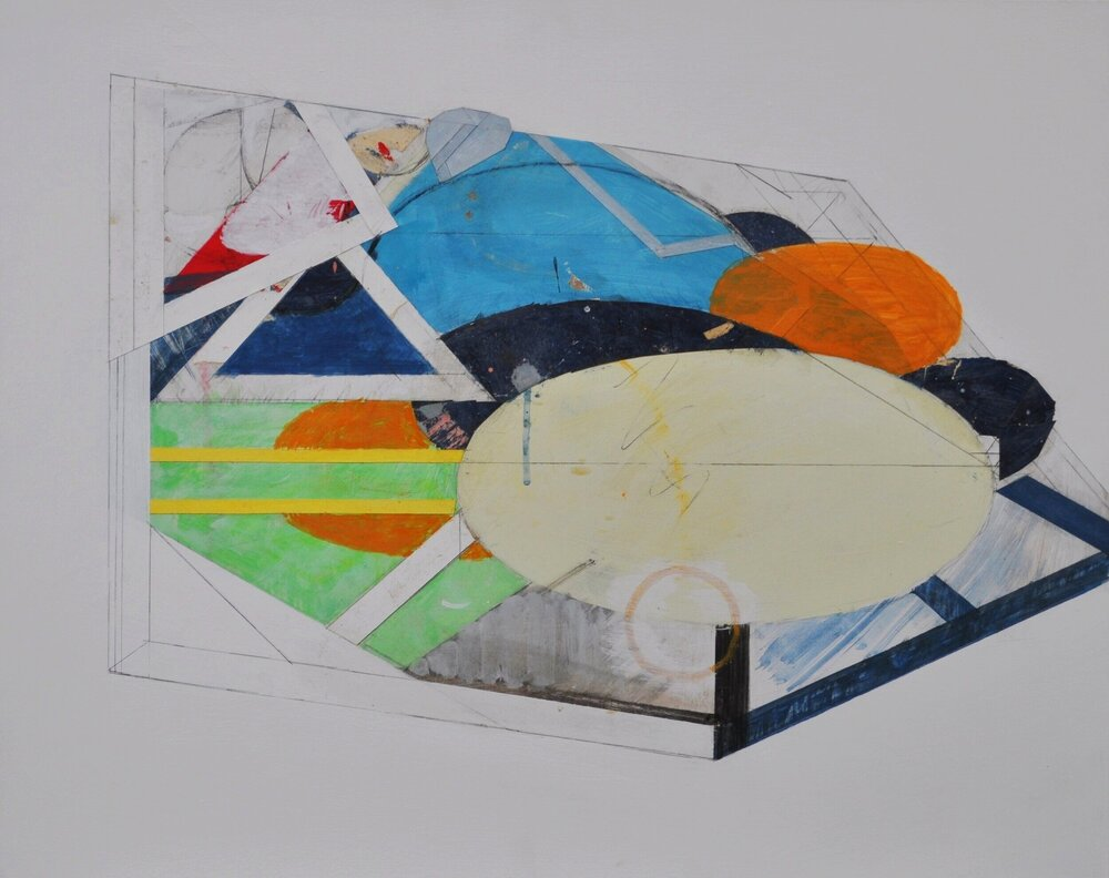 4 Painting with Converging Ellipses 2009 Acrylic and Pasted Paper on Board 61x76cm.JPG