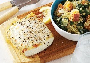 halibut-with-sweet-potato-and-kale-quinoa