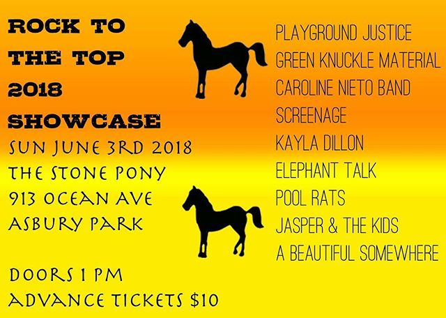Come support us at the Stone Pony's Rock To The Top contest! We go on at 8:00pm and tickets are $12 at the door! See you there!!!