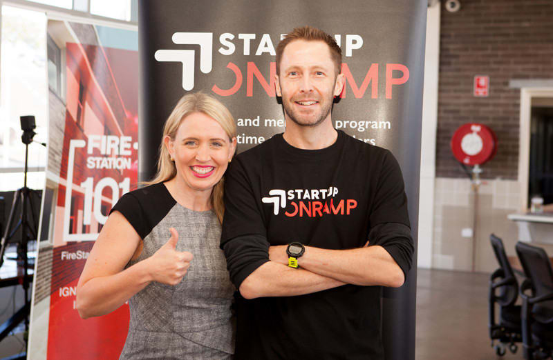 Queensland Innovation Minister Kate Jones and Startup Onramp Founder Colin Kinner