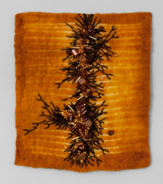 AMBER   Resist dyed Felted Wool, sewn and beaded.  11 x 17 FRAMED   SOLD       Back to Gallery