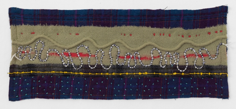 STARS BEGAN TO BURN   Felted Wool, welting, sewn.   10 x 24 UNFRAMED   $800        Back to Gallery
