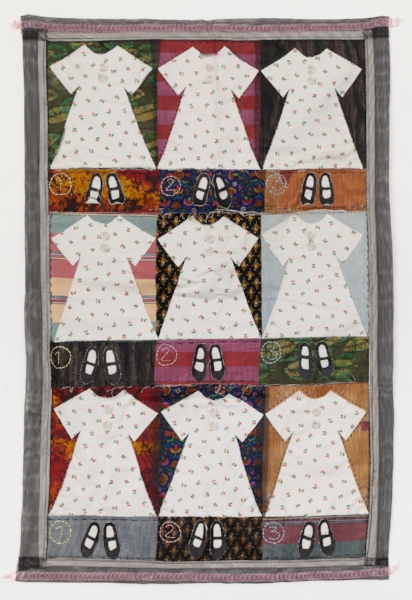 GIRLIE QUILT   Printed fabrics, vinyl screen, ribbon, sewn.  28 x 40 UNFRAMED   $1300         Back to Gallery