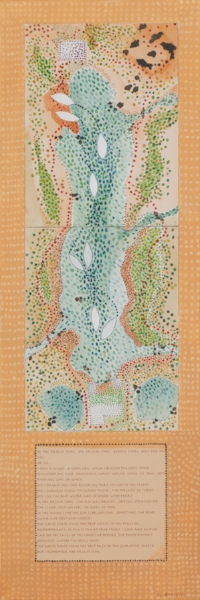 LONG COOL WALK   Guache on water color paper mounted on canvas, gold paint.  15 x 36 x 1.5 UNFRAMED   $1100       Back to Gallery
