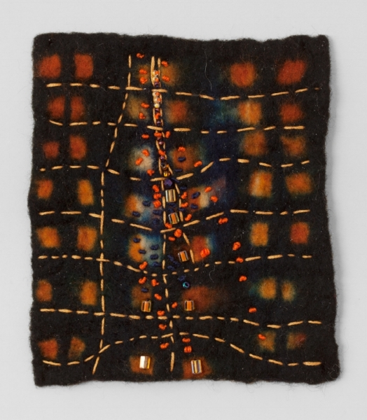 NIGHTVIEW   Resist dyed Felted Wool, sewn and beaded.  11 x 17 FRAMED   $700       Back to Gallery