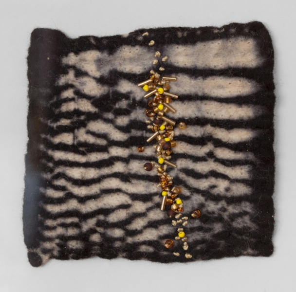 YELLOW BRICK   Resist dyed Felted Wool, sewn and beaded.  11 x 17 FRAMED   $700       Back to Gallery