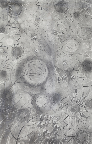 """COSMO I   Graphite Pencil and Powder, Chinese White on Paper.  24""""x36"""" FRAMED   $1700     Back to Gallery"""