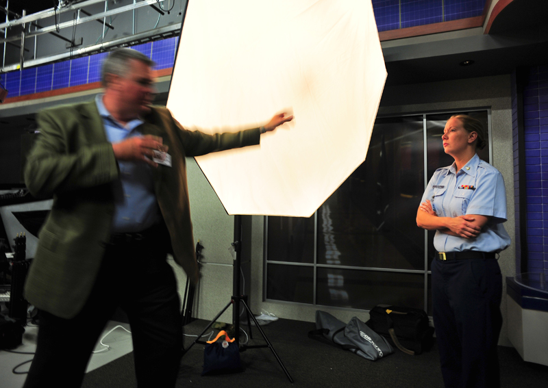Our fearless leader, aka coach Crockett, has been training photographers for many years.  He's shown here in the television studio inside the Pentagon teaching lighting to the proud men and women in uniform.