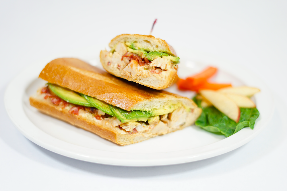 Baja Chicken - On our famous Baguette with dijon mayo spread, homemade salsa, sliced avocado and grilled chicken breast.