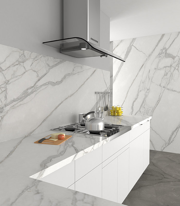 """Smart Marble"" porcelain countertops, flooring and walls"