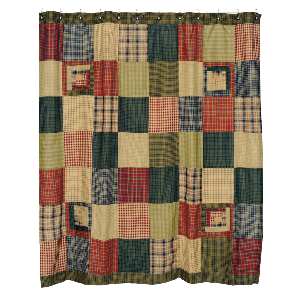 VHC 8298 Tea Cabin Shower Curtain Patchwork 72x72