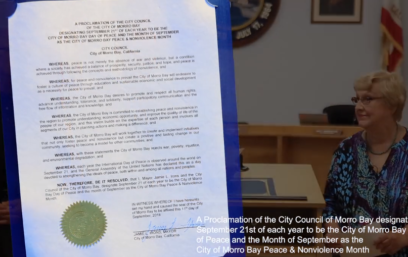 Morro Bay, California - the mayor and city council issued the peace proclamation for the city.  Watch the video .  Read the proclamation.