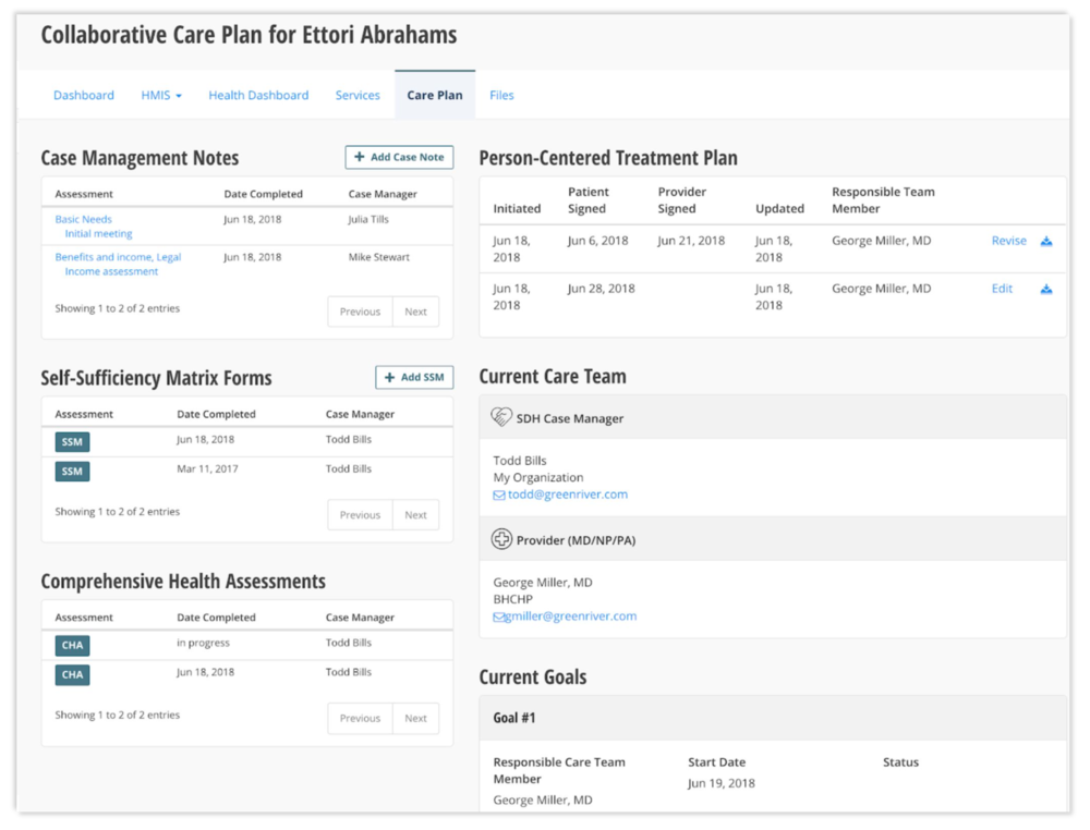 Collaborative care planning tool