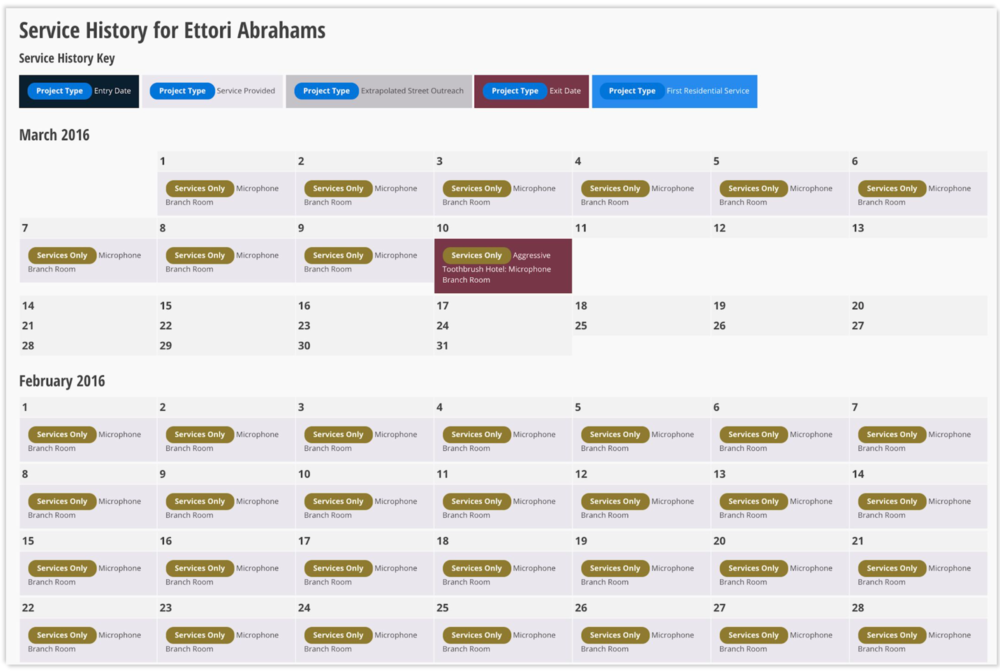 Calendar view of client service history from HMIS data