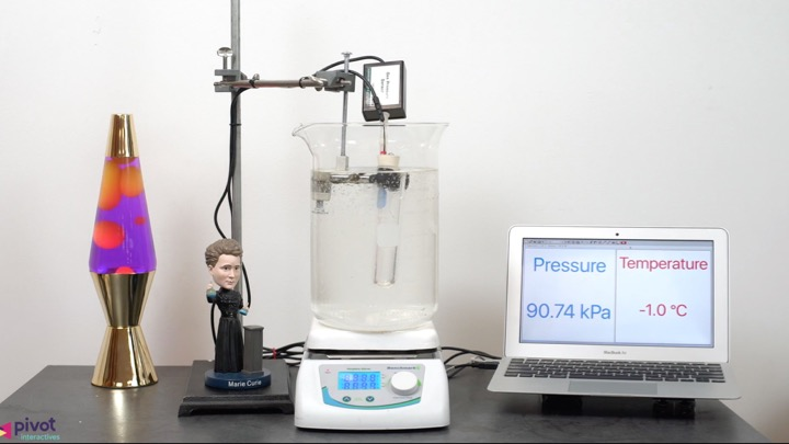 Our gas laws activities let students explore the behavior of ideal gases, and compare them with non-ideal gases. In the video shown, a volume of air is warmed from  —30°C to 35°C. Students decide what to measure and plot, and how to analyze their data.