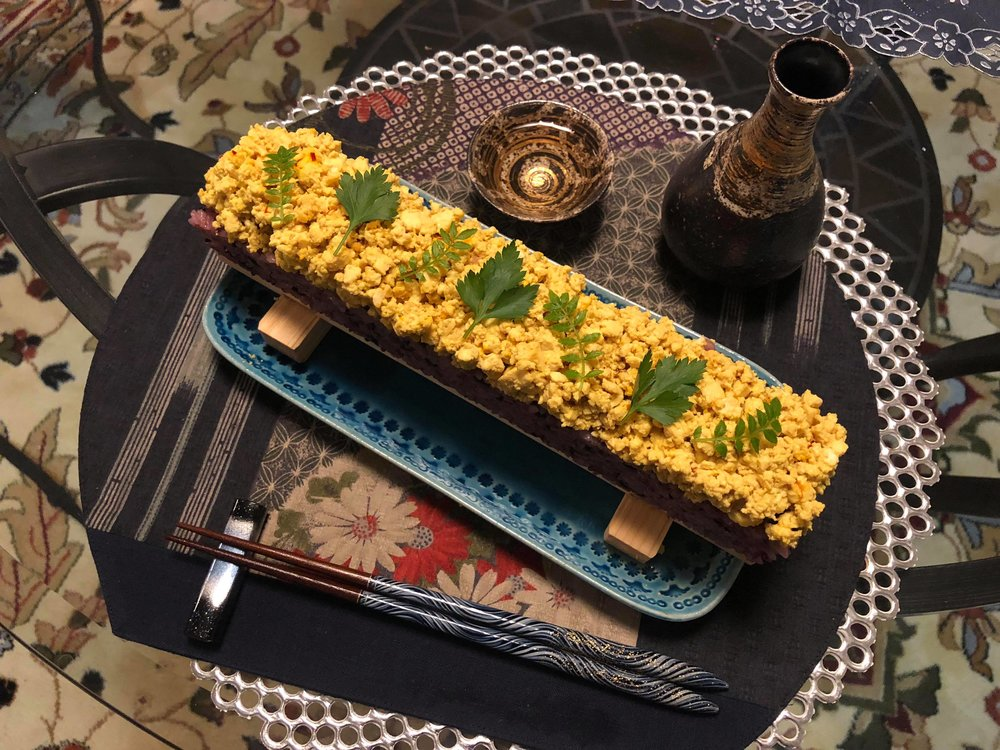 "Vegan Sushi w/ Mock ""egg"" Made from Tofu"