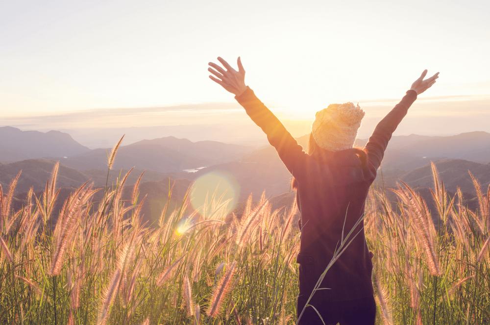 Happy Woman Embracing Life
