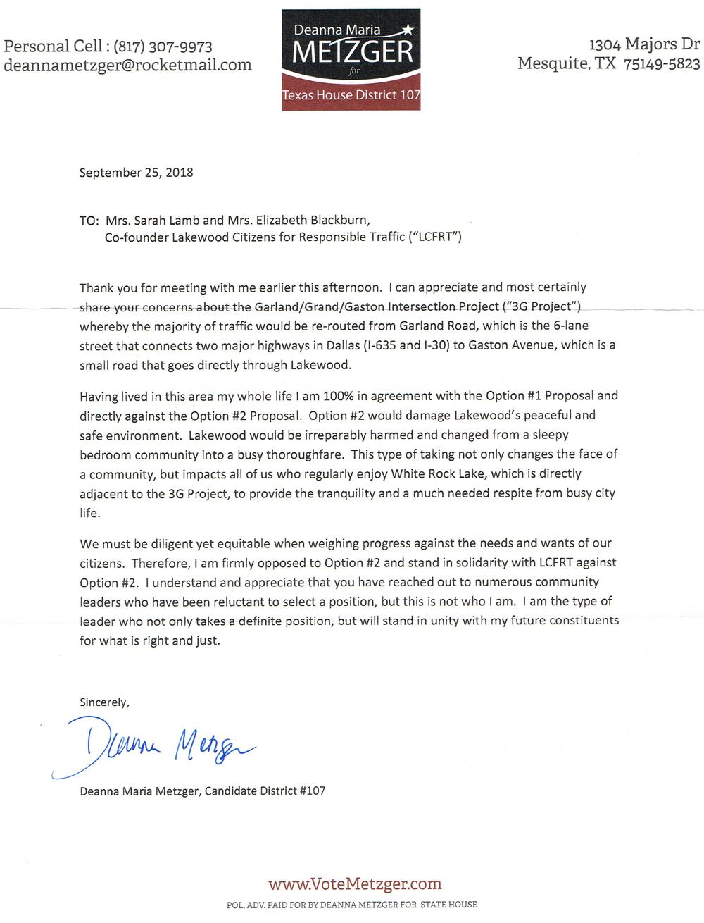 Metzger Support Letter