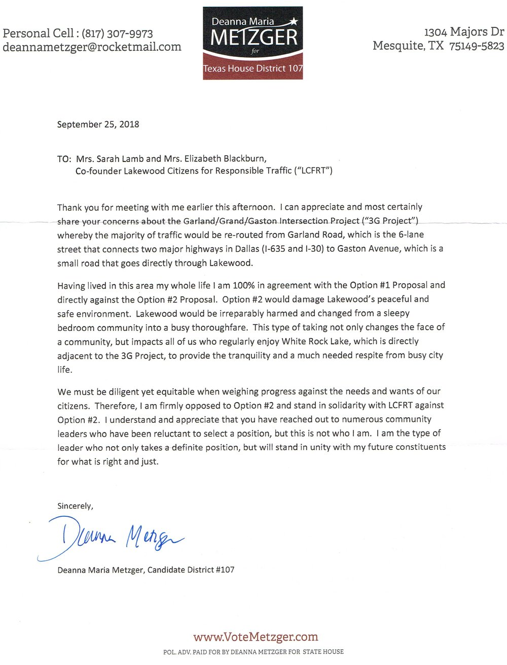 Deanna Maria Metger Letter of Support