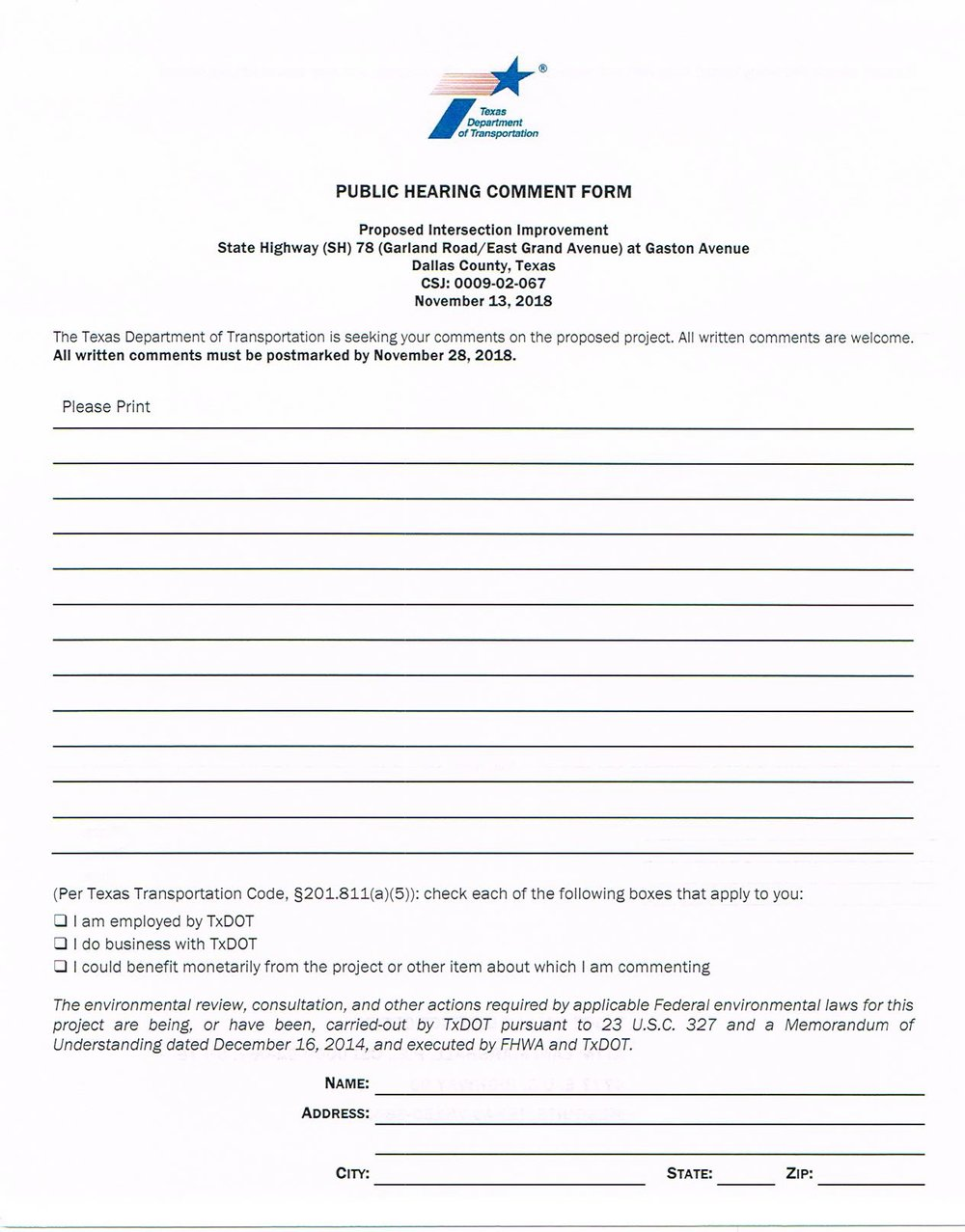 Blank Public Hearing Comment Form