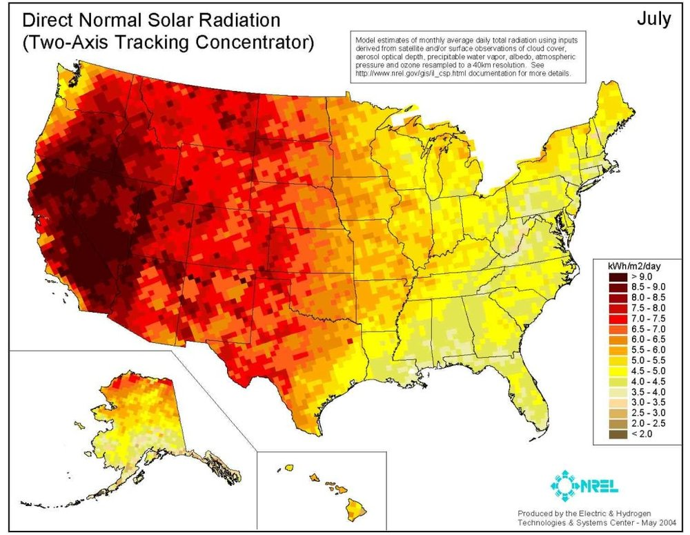 Solar radiation map for the United States. Notice where all the red is?