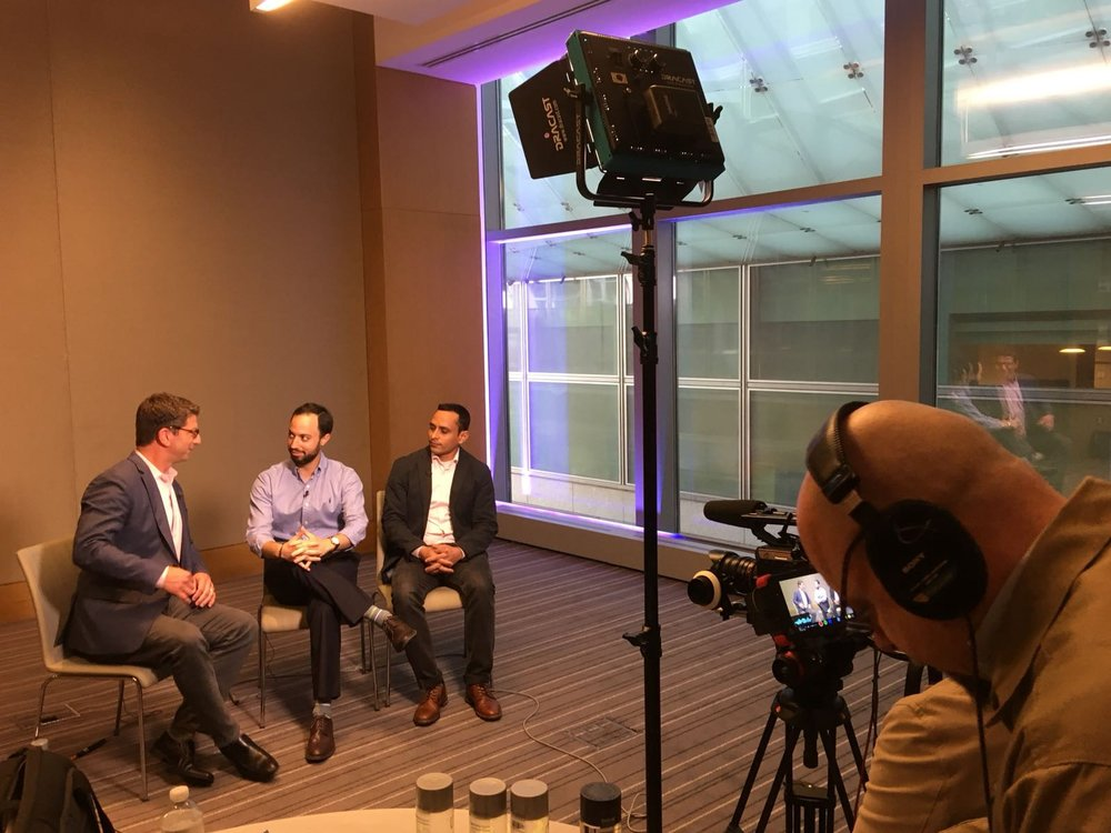 Asaf, Middle, with CTO Praveen Kumar, in an interview with Security Token Academy