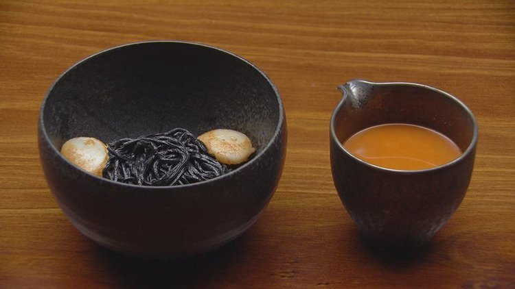 Crab Bisque with squid ink spaghetti.jpeg