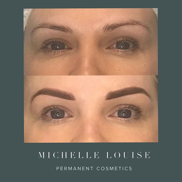 😊Before and after ombré brows. We liked the natural shape here, but just a few areas needed filling in to perfect the shape and give a little more definition Ombre/powder brow 👏🏻😍🔥PLEASE NOTE THESE LOOK FULL ON AT FIRST, but will shrink and soften considerably when healed. For more info please visit 👇🏻 https://www.michellelouisepm.com/