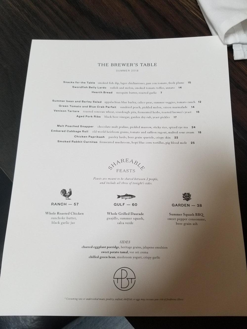 Menu at Brewer's Table