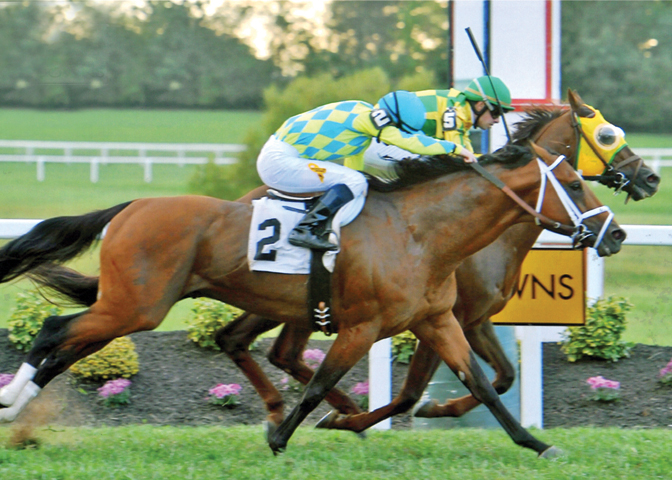 Suntracer wins the $600,000 Kentucky Turf Cup Stakes-G3 in 2:27.12.