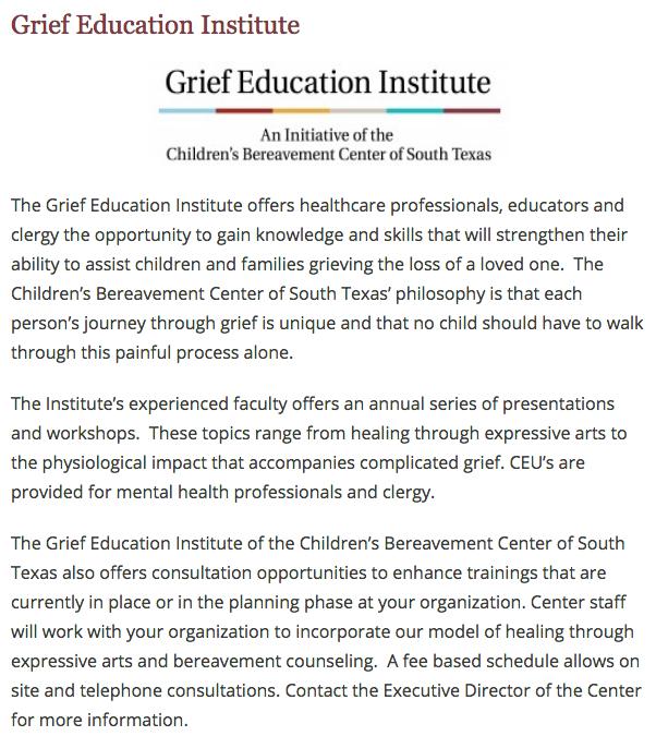 Children's Bereavement Center of South Texas - Education