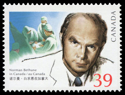 Canada Stamp showing Dr. Bethune in the operating suite.