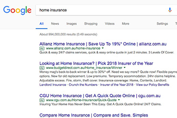 Screenshot of some companies using the longer ads in the home insurance industry