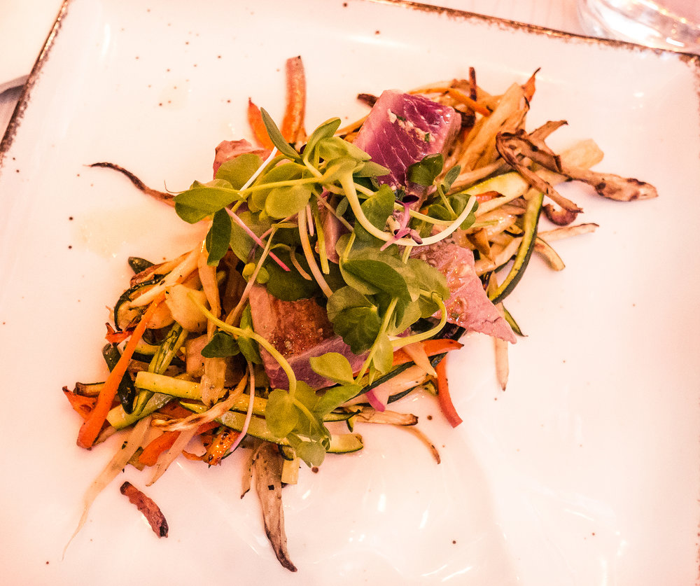 Tuna steak beautifully arranged