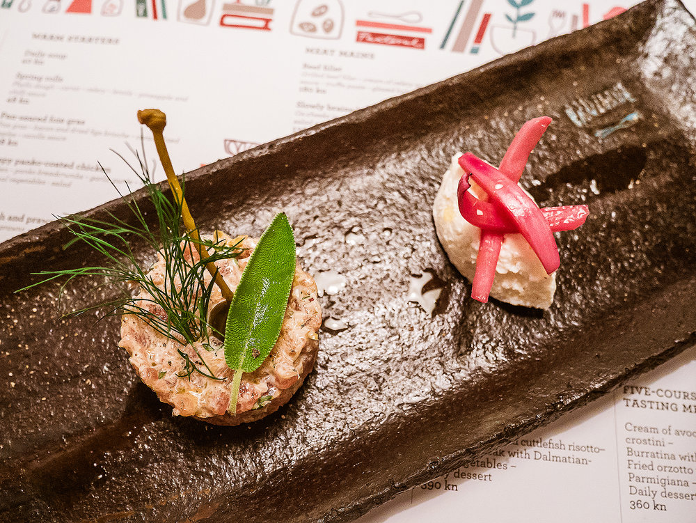 Fish tartare and fresh herbs
