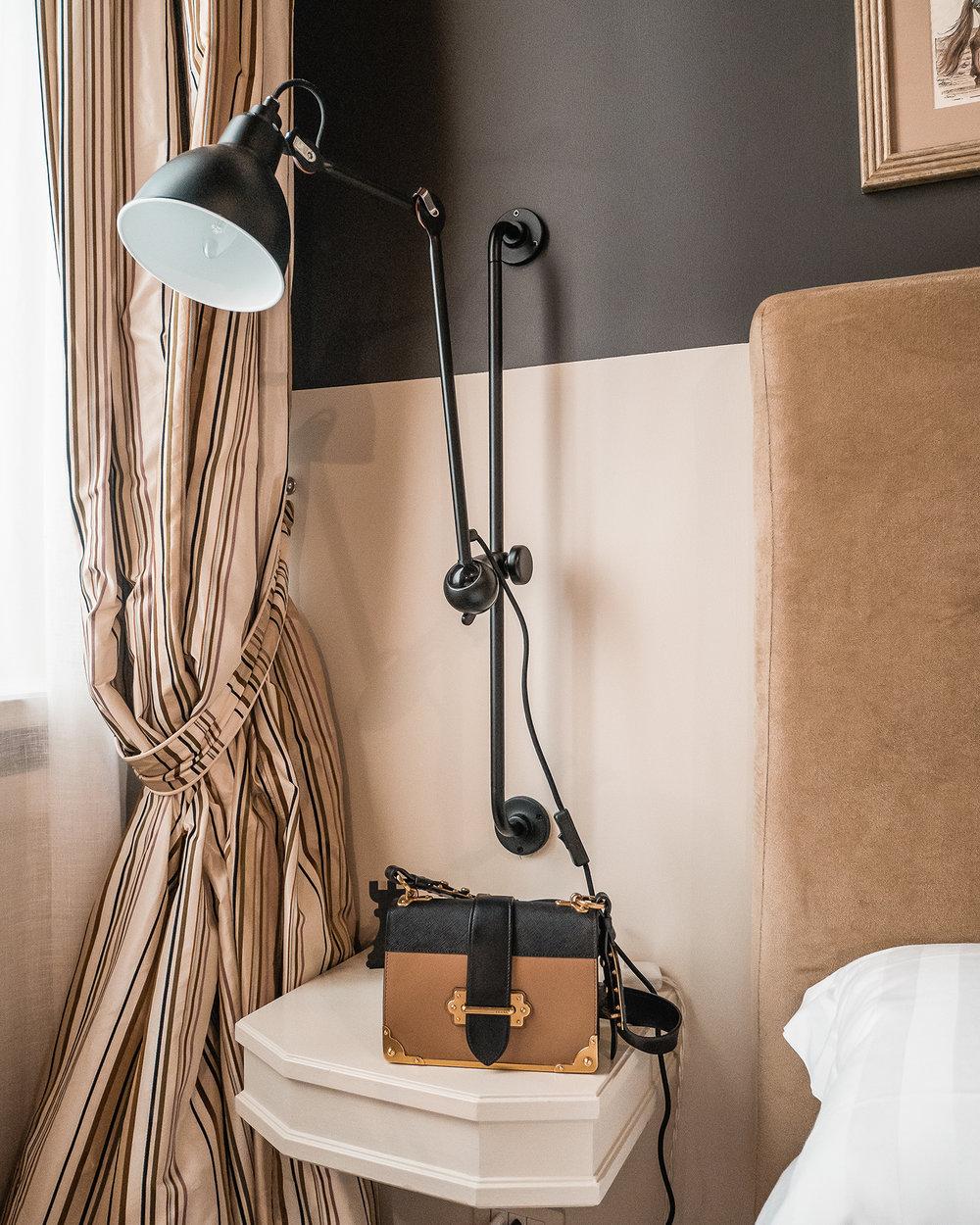 Designer lamp and Prada Bag at Crossing Condotti