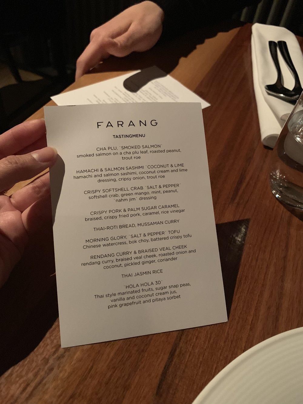 Standard Tasing Menu at Farang in Helsinki