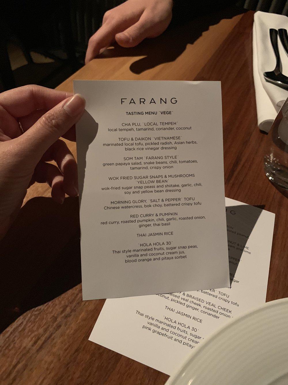 Vegetarian Tasting Menu at Farang