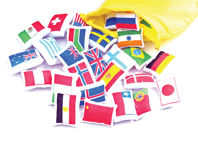 World Map, Flags