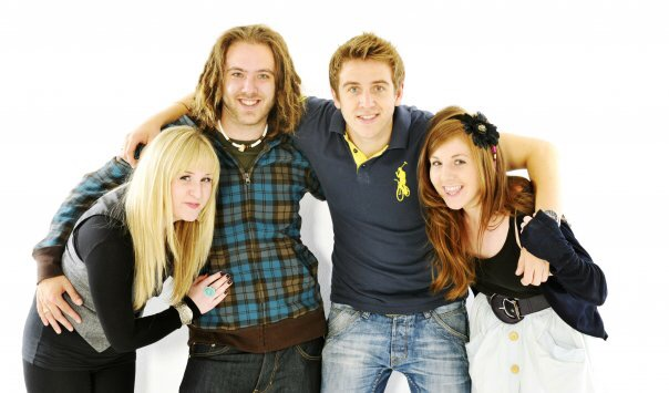 Alex (second from left) with friends