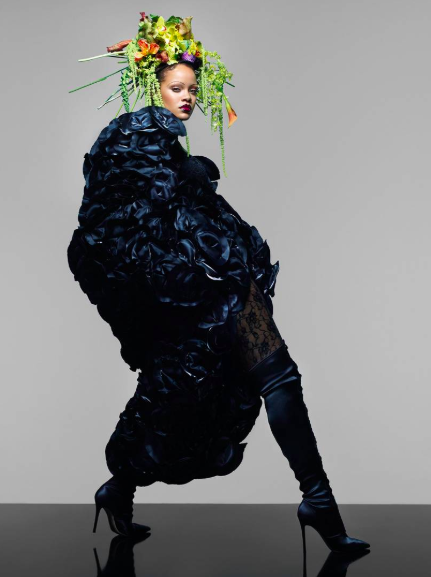 """""""In acquiescing to Miro's order, free women of color thwarted it by adapting the kerchief into the stylish and flattering tignon that became a badge or mark of distinction of their race, status, and gender.… In some ways, it bound very different women together in an act of defiance."""" - Photo: Rihanna for British Vogue, September 2018."""
