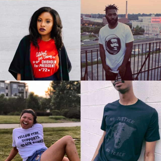 Clockwise from top left: @theurbantea in the Chilsolm for President tee, @brobeas in the Octavia tee by Nick James on PPW's artist marketplace, @jaredrushjackson in the No Justice No Peace tee, @tiredabolitionist in the Yellow Peril Supports Black Power tee from the marketplace.