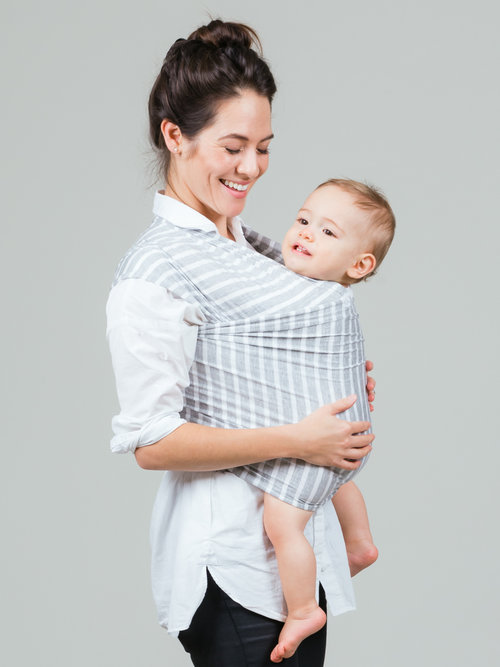 Grey Stripe Baby Wrap Carrier Baby Bee Of London