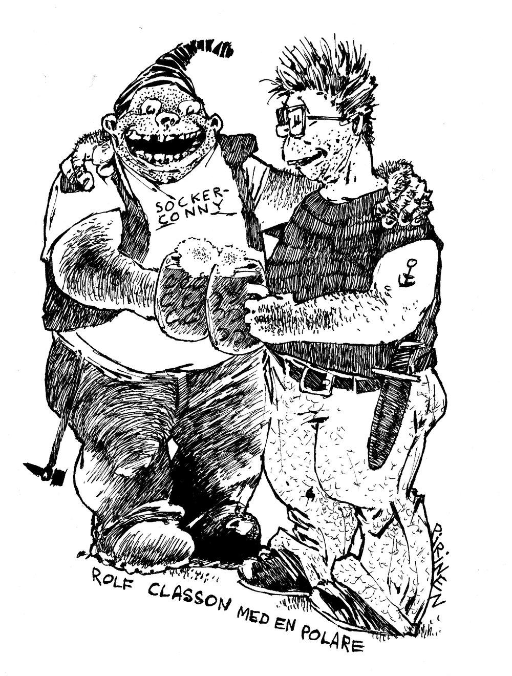 Rolf Classon porträtterad 1985 av Joakim Pirinen tillsammans med Socker-Conny - den figur som kom att starta den svenska serierevolutionen.